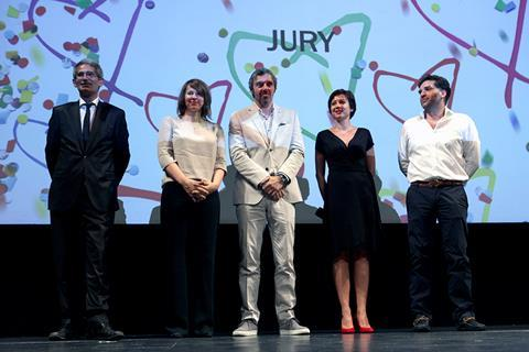 Members of the Feature Film Competition jury (left to right): Charles Tesson, Christine A. Meier, Uliks Fehmiu, Mirela Oprisor and president of the jury Danis Tanovic
